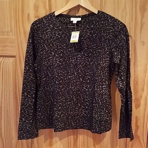 Charter Club Long Sleeve Leopard Print top